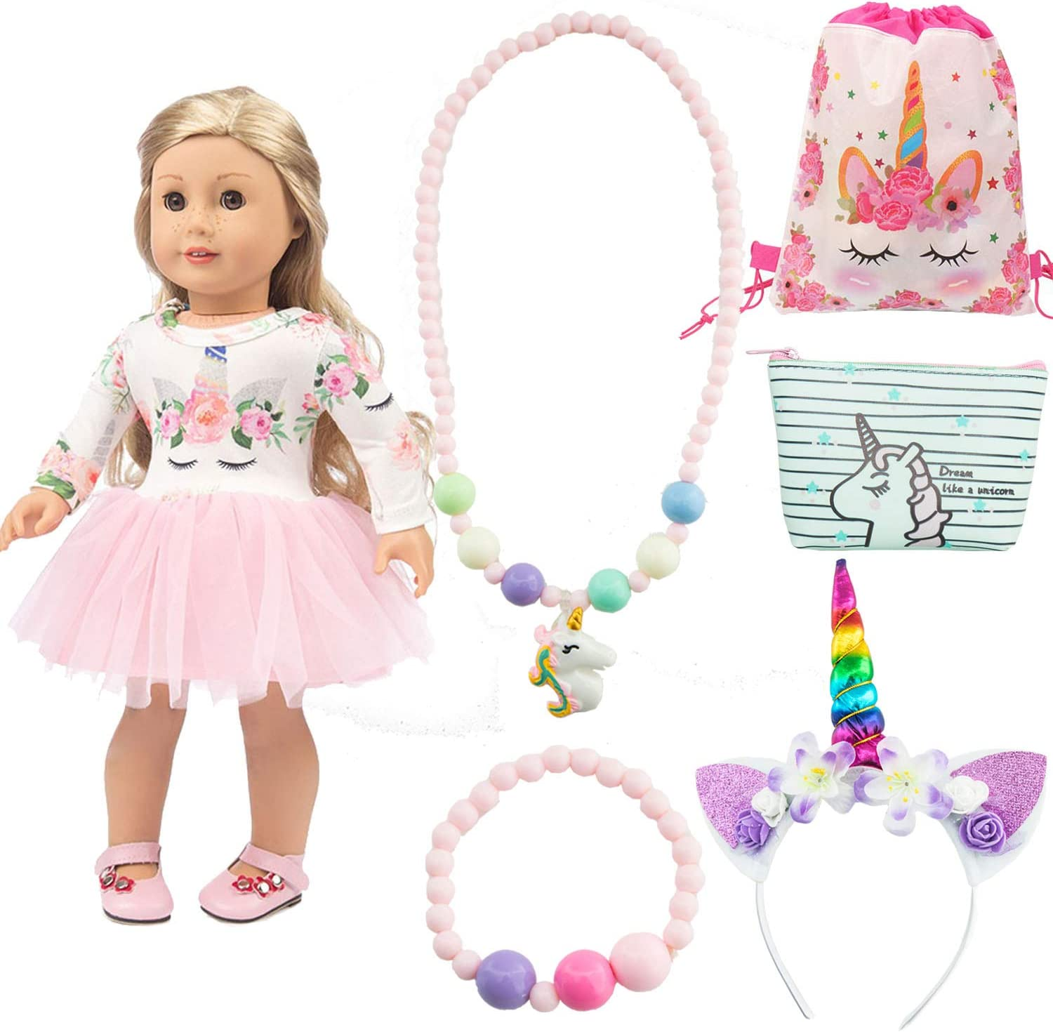 SOTOGO 6 Pieces 18 Inch Doll Clothes Unicorn Outfit for American 18 Inch Girl Doll Include 1 Set Doll Clothes and Doll Accessories for Your Girl, Girl and Doll Can Interact and Play Together