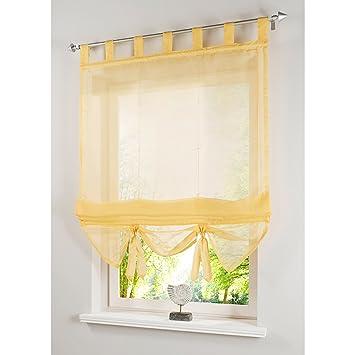 ANGEL BUD 1 stück voile Raffrollo mit schlaufen - transparent einfarbig  tüll Vorhänge - römischen Vorhang für Küche, Bad und Balkon - Gelb - ...