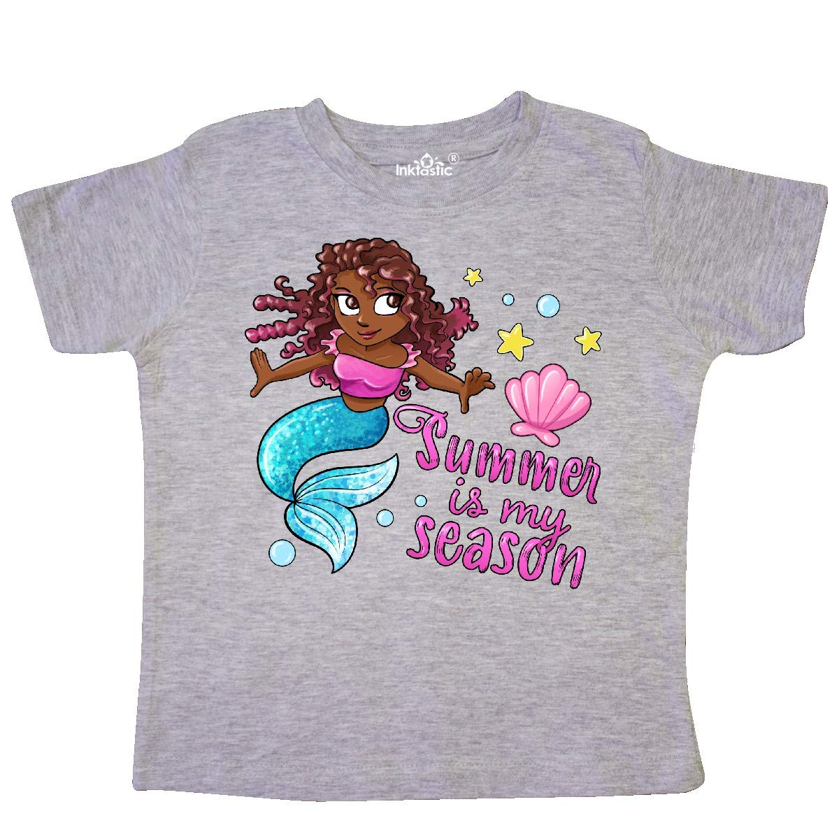 inktastic Summer is My Season Mermaid with Blue Tail Toddler T-Shirt