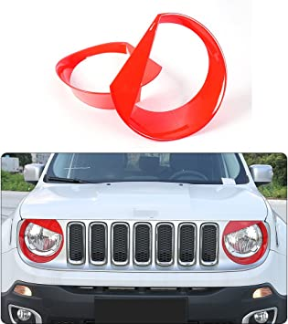 JeCar Front Light Headlight Angry Bird Style Bezels Trim Cover for Jeep Renegade 2015 2016 2017 Pack of 2, Red
