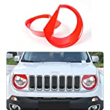 JeCar Front light Headlight Angry Bird Style Bezels Trim Cover For Jeep Renegade 2015 2016 2017 (Pack of 2, Red)