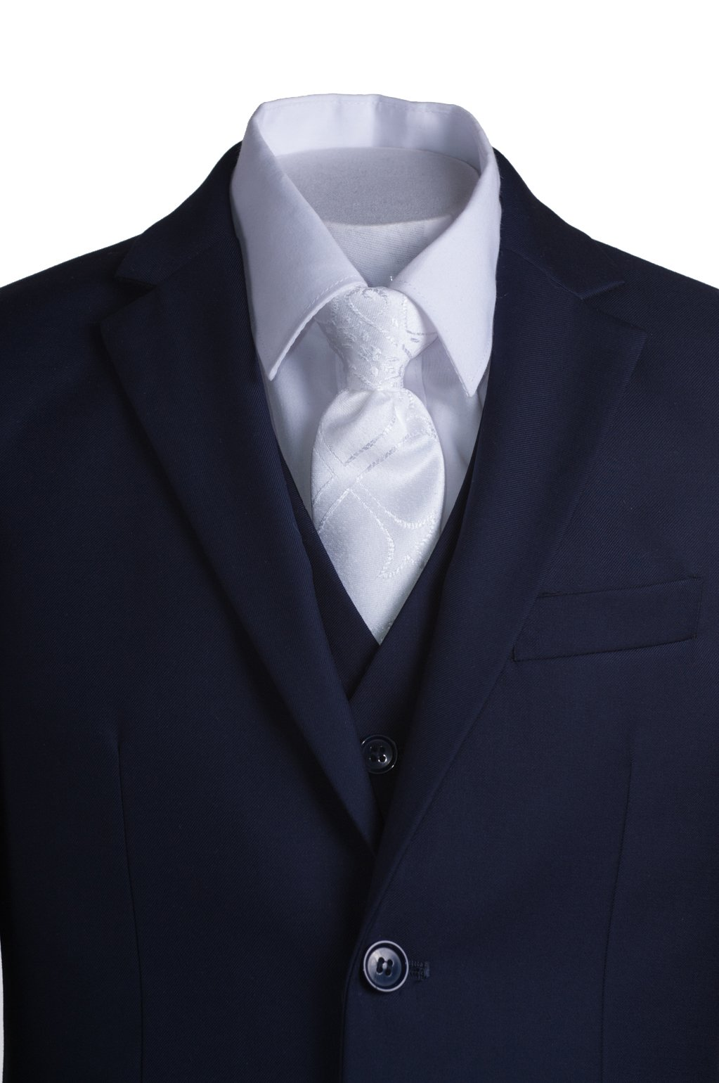 Boys Navy Blue Slim Fit Communion Suit with Vest & White Clergy Tie (10 Boys) by Tuxgear (Image #8)