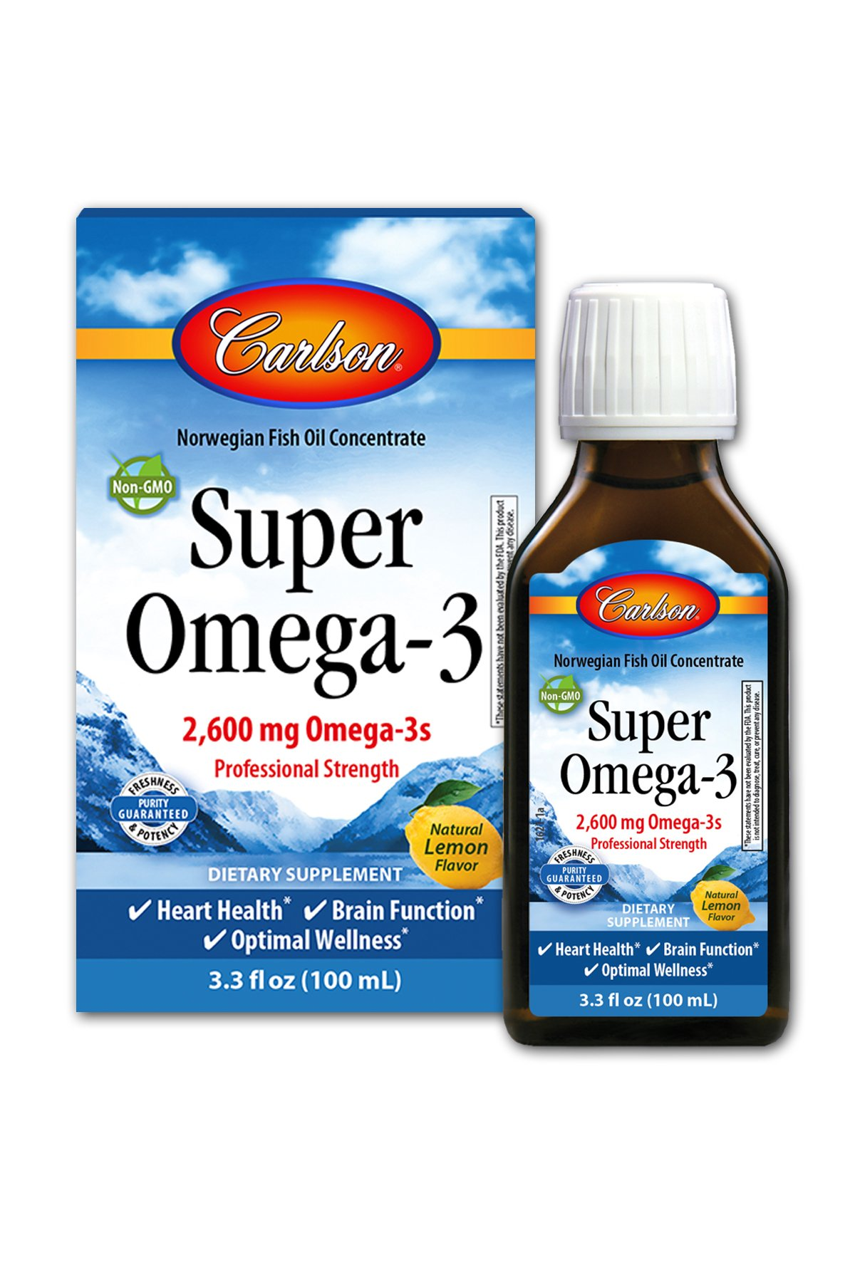 Super Omega-3, 2,600 mg Omega-3s, Professional Strength, Lemon, 100 mL