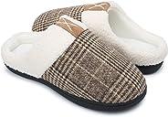 SYKT Mens Womens Comfort Memory Foam Slippers Warm Indoor Outdoor House Shoes