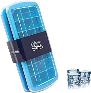 Arctic Chill Silicone Small 1.3 Inch Ice Cube Trays with Easy Release Lid Covers, Stackable, Great for Cocktails, Whiskey & Bourbon, Flexible, Dishwasher Safe, BPA Free, Set of Two Makes 42 Total