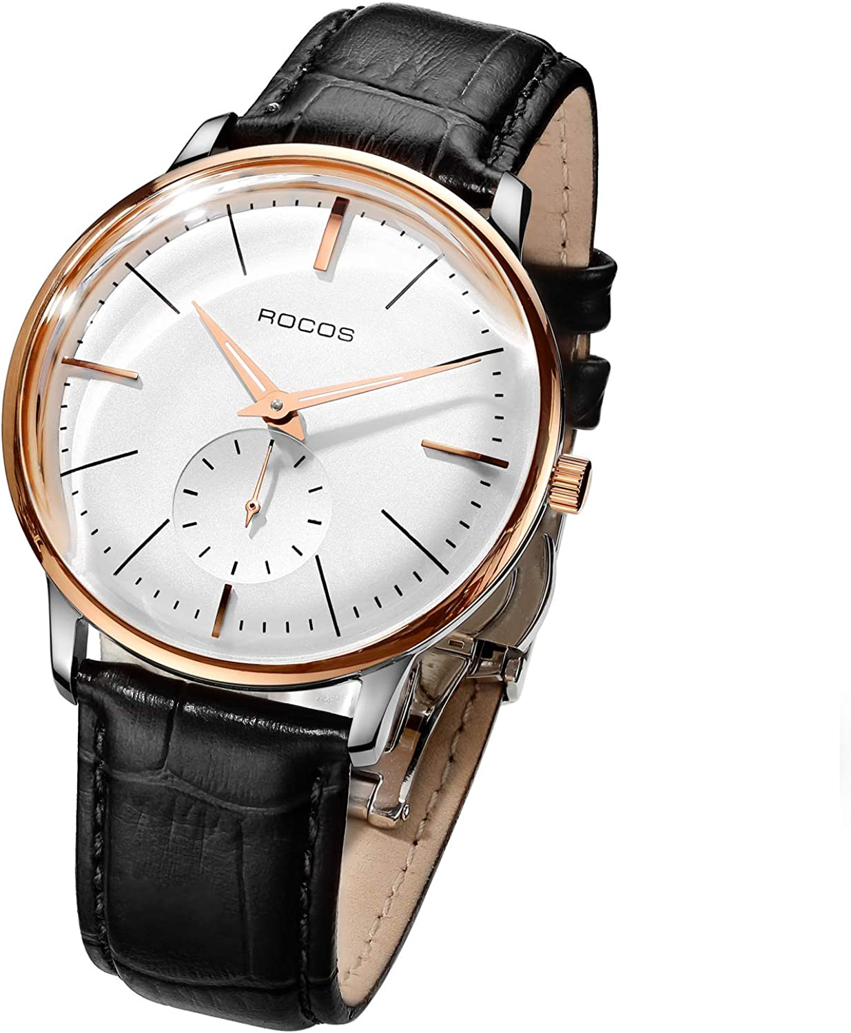 ROCOS Automatic Mechanical Watch for Men White Dial Domed Mirror Classic R0140