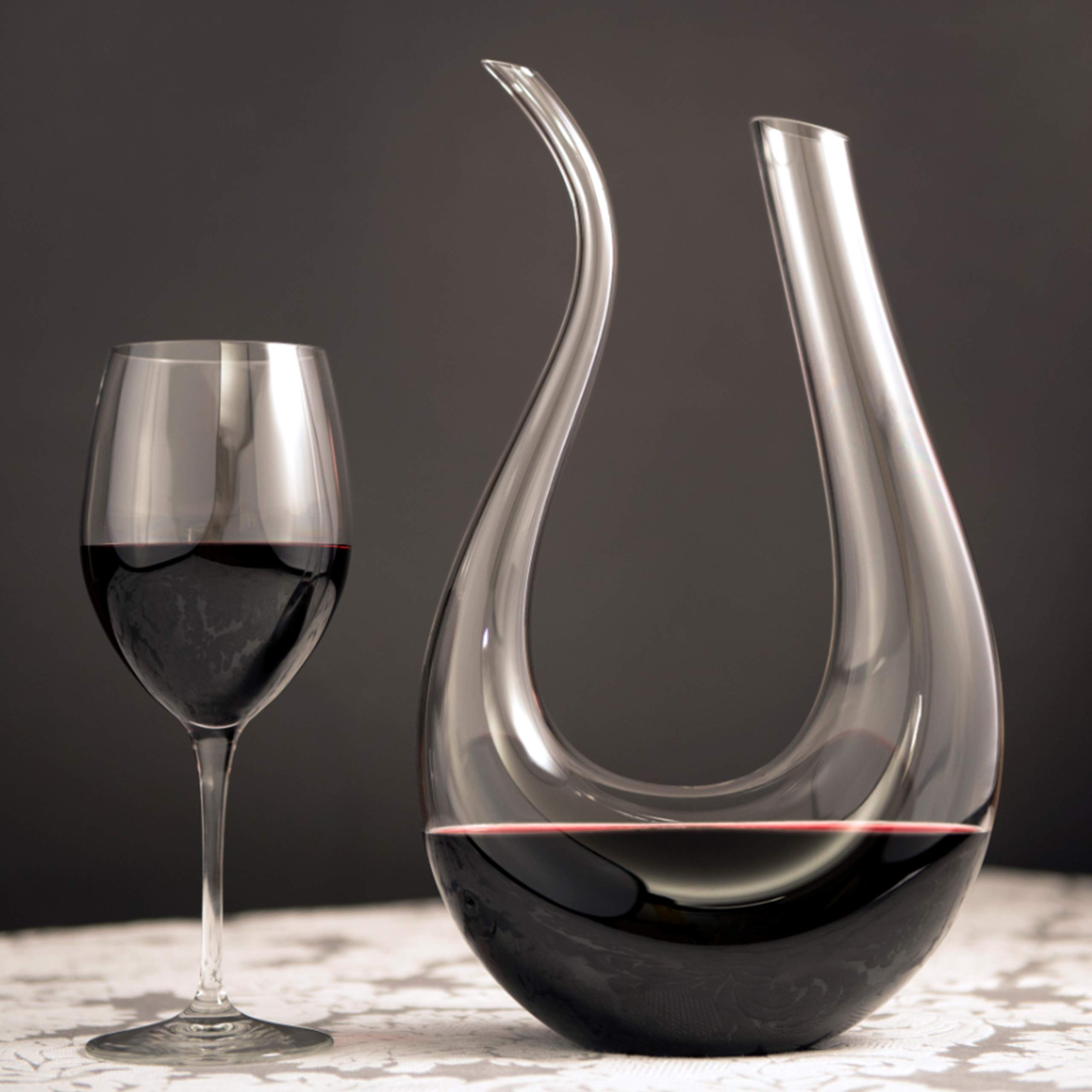 Wine Decanter by HiCoup - 100% Lead-Free Crystal Glass, Hand-Blown Red Wine Decanter/Carafe, Provides Intense Aerating in a Stunning U Shape Design by HiCoup Kitchenware (Image #2)