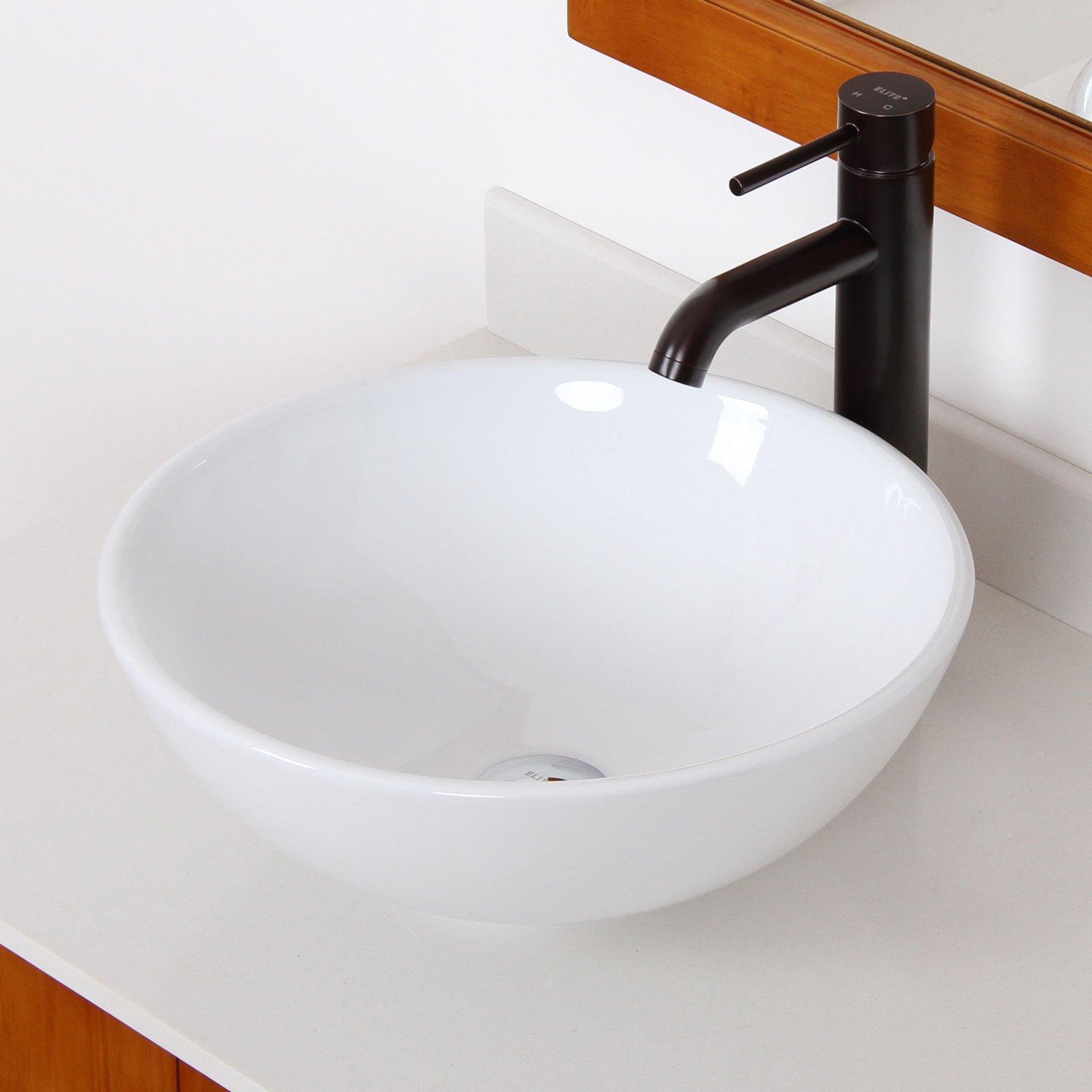 ELITE Bathroom Round White Ceramic Porcelain Vessel Sink & Oil Rubbed Bronze Faucet Combo by ELITE