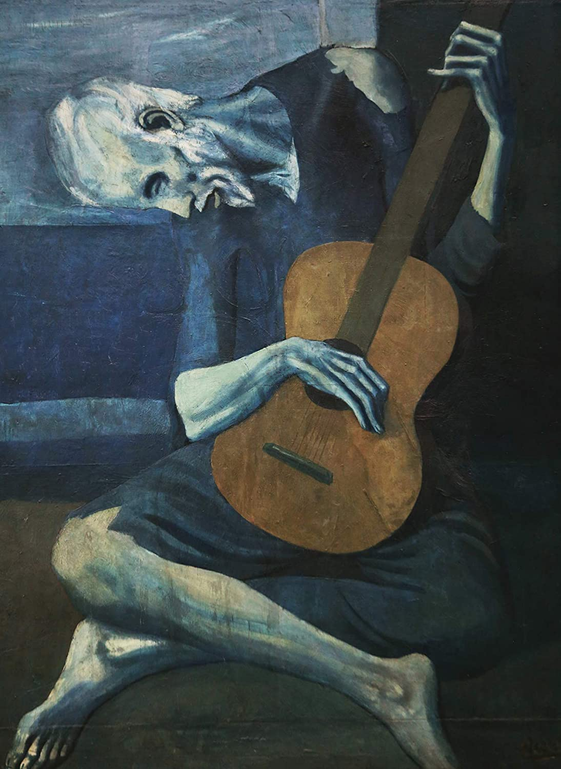"""The Old Guitarist by Pablo Picasso Poster Print 1903 - Laminated - Old Man with Guitar Wall Art - 18"""" x 24"""""""
