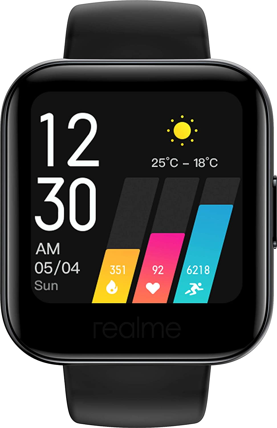 """realme Fashion Watch 1.4"""" Large HD Color Display, Full Touch Screen, SpO2, Continuous Heart Rate Monitor, Black, Free Size (RMA161)"""