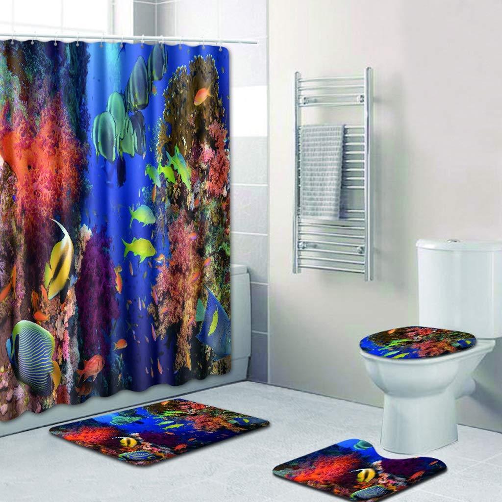 CYHY Unterwasserlandschaft 4-teiliges Badezimmer-Set, Badezimmer-Set, Badezimmer-Set, WC-Deckel Abdeckung Sockel WC-Bad Rutschfeste Teppich Teppich und Wasserdichte Duschvorhang mit 12 Haken (Farbe   5, Größe   17.7 x 29.5 ) B07QBCVXZ7 Duschmatten 59f995