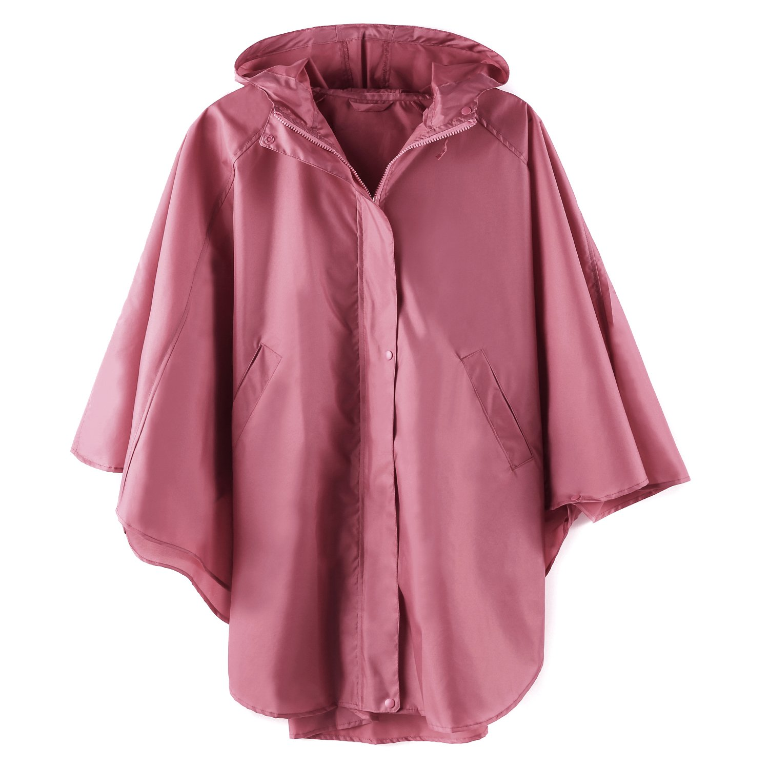 LINENLUX Waterproof Rain Poncho Hooded for Adults with Zipper Outdoor (Pink)