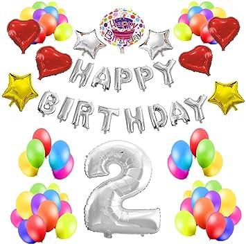 COTIGO - Kit de Globos Cumpleaños Happy Birthday #2 Color Plateado, Año 2