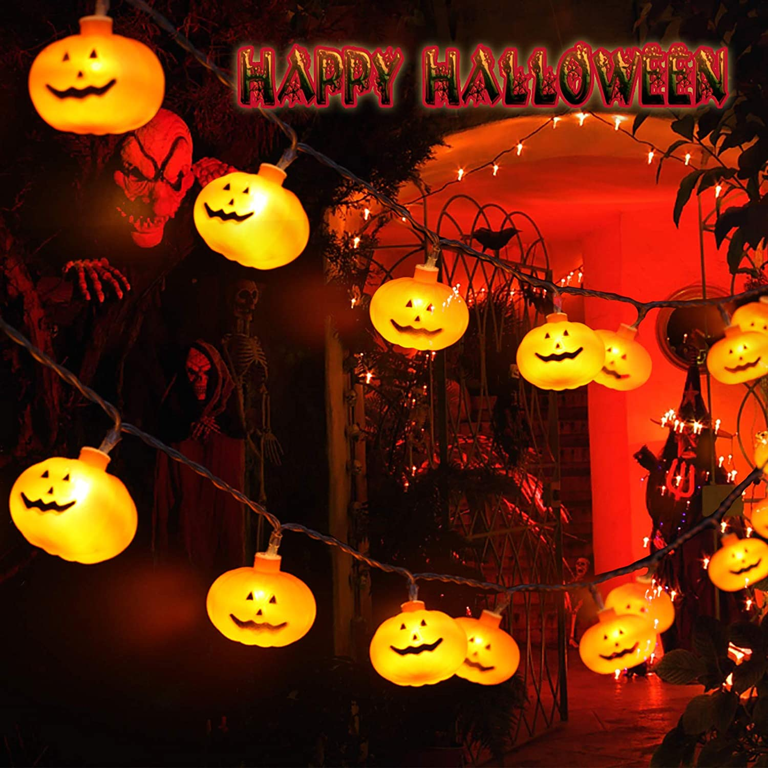 AOYOO Halloween Pumpkin String Lights Decorations Decor for Indoor Outdoor Outside,2 Modes,20 LED Battery Operated 3D Party Orange Small Strobe Lights Yard Decorations Scary
