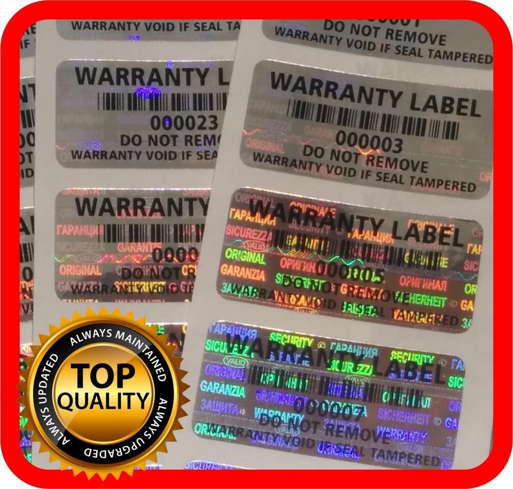 250 Etiquetas Seguridad Numeradas Garantia c/Ho (3.2x1.5cm)