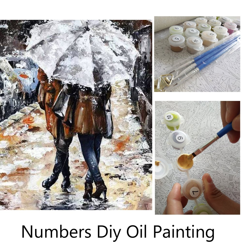 Aksuo Paint by Numbers Kits Diy Canvas Oil Painting for Kids, Students, Adults Beginner - A beautiful view of European streetscape 16 x 20 inch with Brushes and Acrylic Pigment(With Framed) 507A beautiful Frame-11