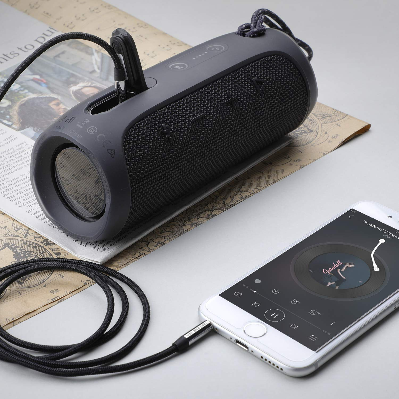 Nero Smartphone MP3 iPad Echo DOT ECC iPhone UNBREAKcable Cavo Aux 3,5mm in Nylon 1M Cavo Audio Jack per Cuffie Autoradio iPod