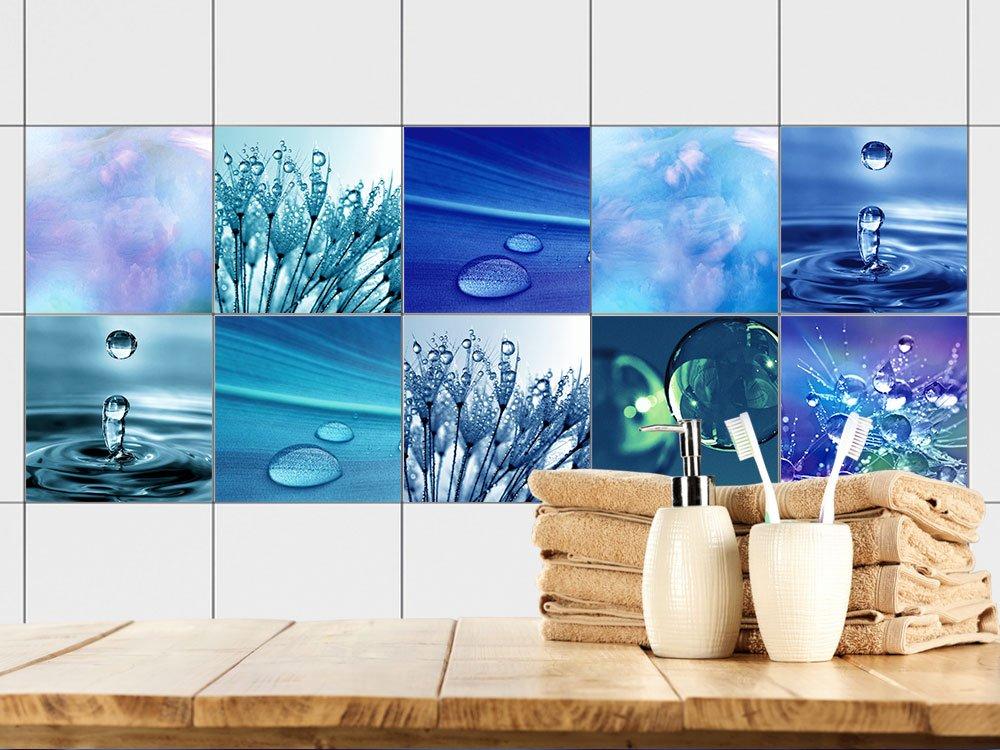 GRAZDesign 770361_10x10_FS10st Fliesenaufkleber Bad - Fliesen zum Aufkleben | Selbstklebende Folie fü r Badezimmer | 10 Blaue Motive mit Wasser (10x10cm // Set 10 Stü ck)