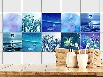 GRAZDesign 770361_15x15_FS20st Fliesenaufkleber Bad - Fliesen zum Aufkleben  | Selbstklebende Folie für Badezimmer | 10 Blaue Motive mit Wasser ...