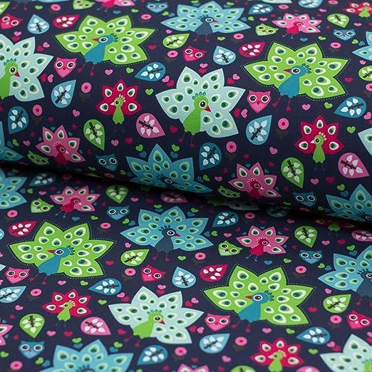 Brittschens Stoffe und Zutaten Stoff Softshell | Pfau Eule auf dunkelblau | 50cm x 150cm | Kinderstoff | Stoff zum Nähen | Meterware