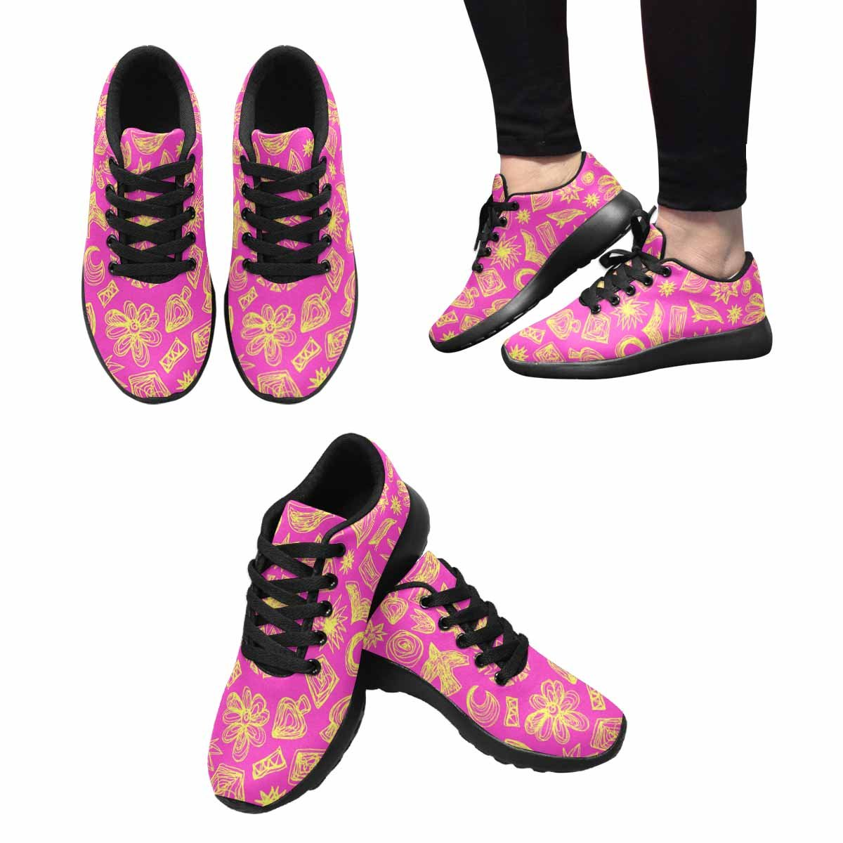 INTERESTPRINT Womens Running Shoes Pink Doodle Pattern Print Outdoor Sneakers