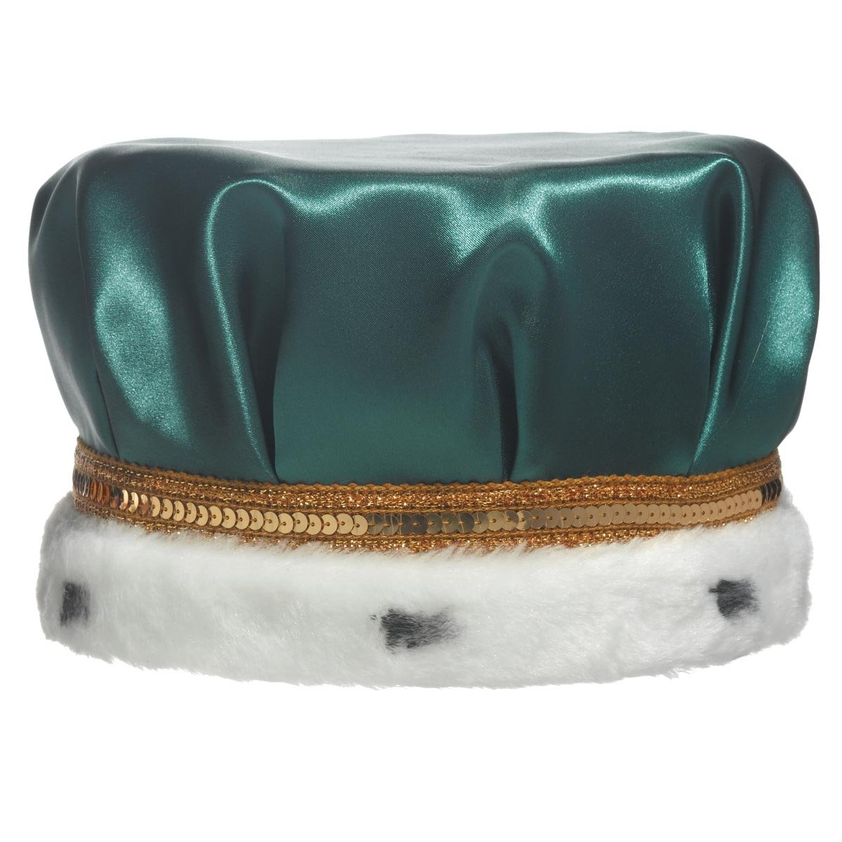 TCDesignerProducts Green Satin Crown with Gold Trim and Faux Fur