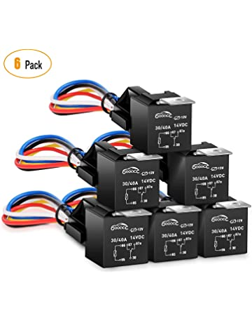 gooacc 6 pack automotive relay harness set 5-pin 30/40a 12v spdt with