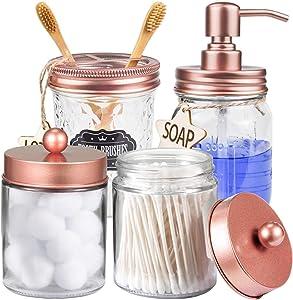 CAPMESSO Mason Jar Bathroom Accessories Set 4 Pcs - Mason Jar Soap Dispenser & 2 Apothecary Jars & Toothbrush Holder - Rustic Farmhouse Decor Bathroom Countertop, Vanity Organize (Rose Gold)