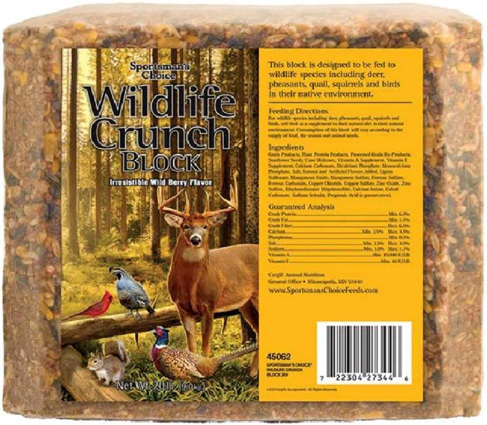 Sportsman's Choice Wildlife Crunch Block, Wild Berry Flavor, Supplement Feed for Wildlife Species, Fortified with Calcium and Vitamins, 20 Lbs