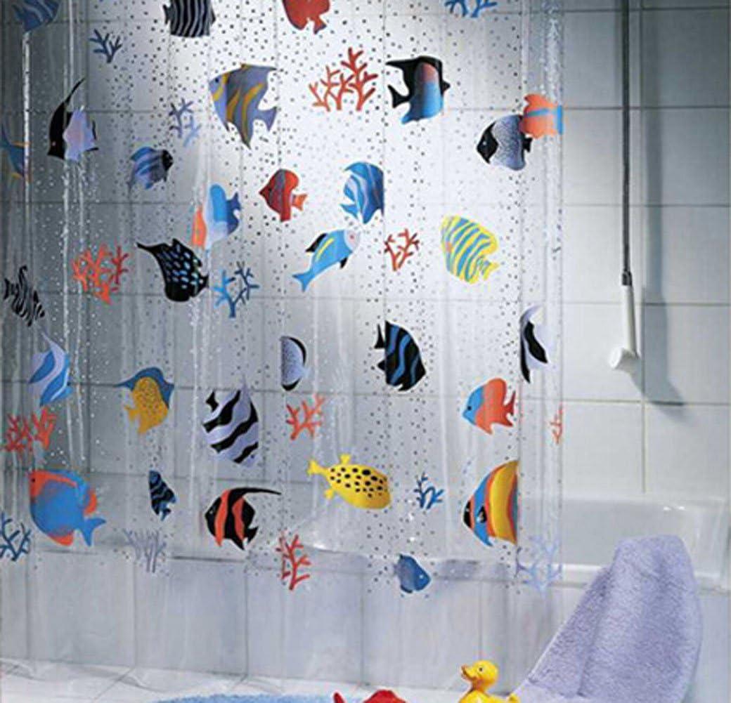 transparent pvc tropical fish cartoon waterproof shower curtain 72 78