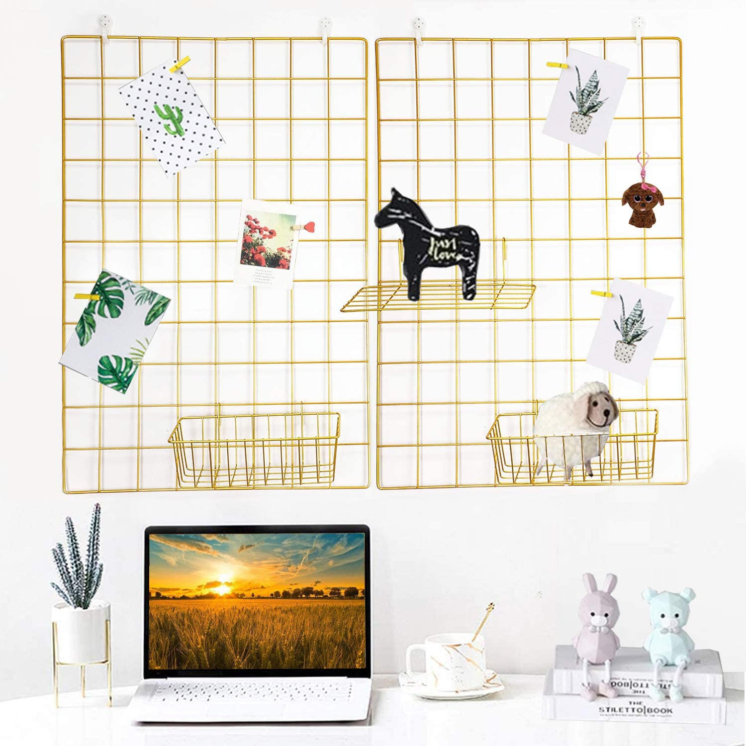 GBYAN Grid Wall Panels with Baskets Metal Wire Photo Display Wall Organizer for Hanging Memo Picture