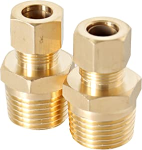 "Lead Free Brass Reducing Coupling 3/8"" COMP x 1/2"" MIP Male Leak Proof Easy Connect Union (2 Pack)"