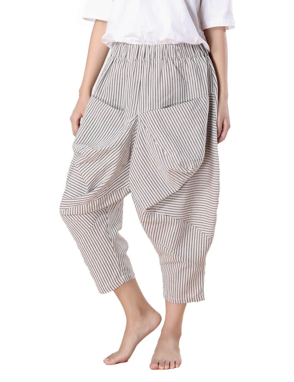 BUYKUD Summer Women Cotton Linen Casual Long Stripe Long Beige Pocket Pants