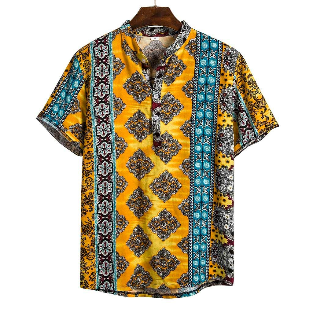 Banstore African Dashiki Cotton Shirt Unisex Tribal Festival Boho Hippie Kaftan Beach Casual Shirt Henleys