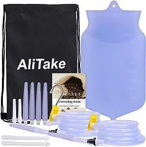 Enema Bag, Alitake Enema Kit Upgraded Version Silicone Reusable Enema Bag Kit with 2 Silicone Tubing 10 Nozzles for Home Coffee Water Enema Colon Cleansing Detox Enemas