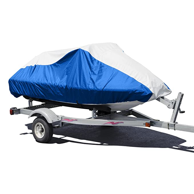 """Budge Deluxe Jet Ski Cover Fits Jet Skis 121"""" to 135"""" Long, Blue/Gray"""