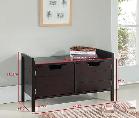 Amazon.com: Kings marca Muebles Madera Banco De almacenaje ...