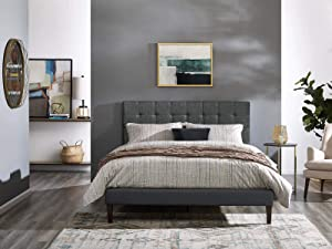 Modway Paisley Upholstered Tufted Linen Fabric Twin Headboard Size in Gray