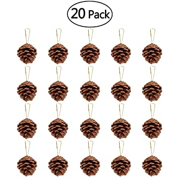 Unomor 20pcs Christmas Pine Cone Ornaments With String Natural Wood Rustic Christmas Tree Decoration Crafts Christmas Home Hanging Ornament 4 6cm