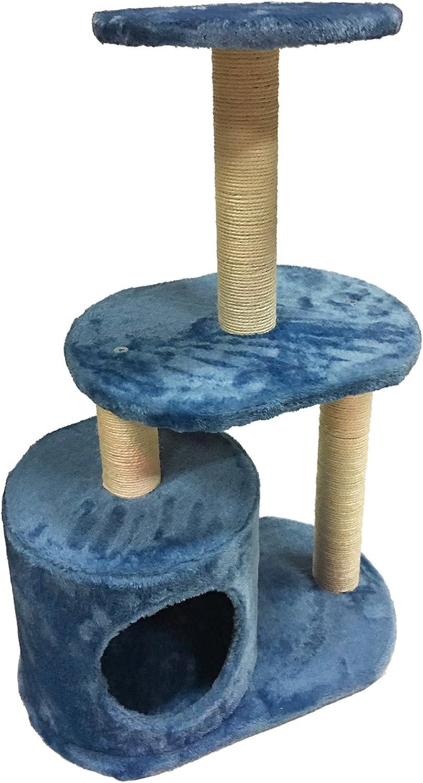 Dimensions: 75 x 50 x 30 cm HxWxD - Art Lucky Pet Scratching Post Activity Center Scratcher Beige Light Blue Heavy Duty Kitten LU8042
