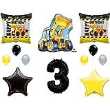 3rd BIRTHDAY CONSTRUCTION Balloons Decoration Supplies Party Boy Dump Truck Bulldozer Third