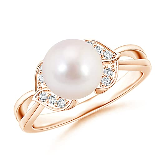 Angara Freshwater Cultured Pearl Ring with Diamond Leaf Motifs NdFqTUMF3D