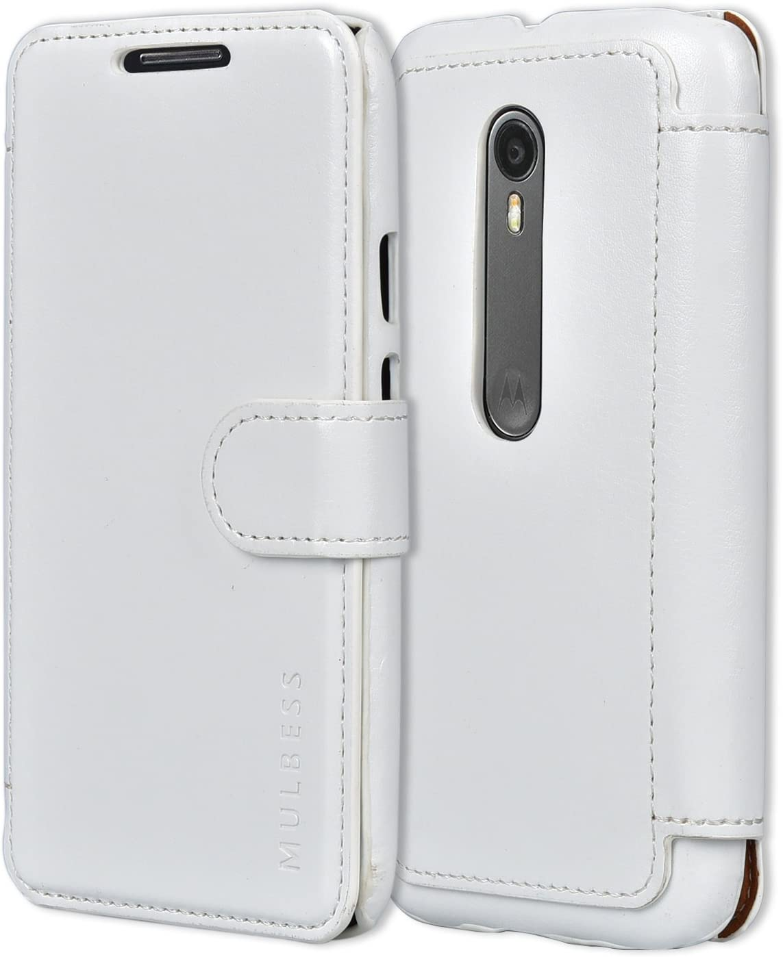 Mulbess Layered Motorola Moto G 3rd Leather Case,Flip Phone Case Wallet with Magnetic Clasp for Motorola Moto G 3 Gen Cover, White