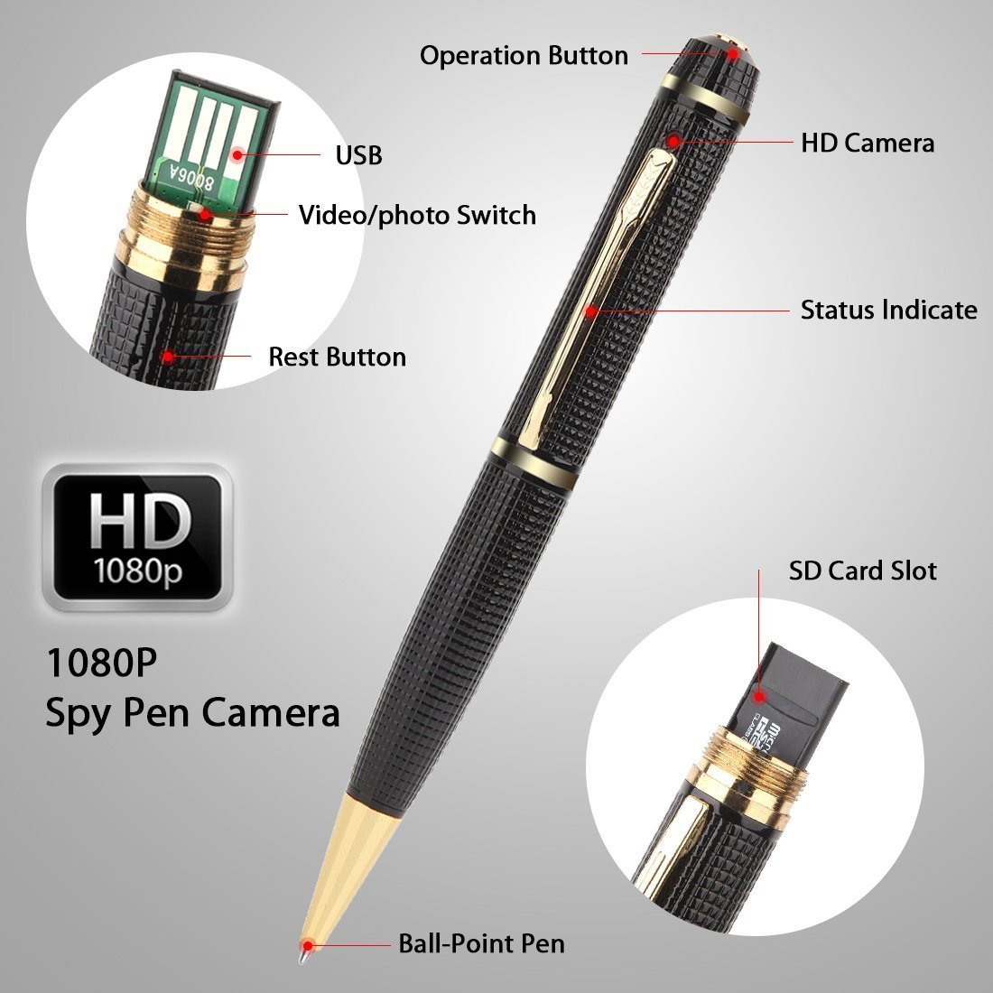 Amazon.com : Hidden Camera Pen-HD 1080P Spy Pen Recorder Real Video ... for Spy Camera Pen With Voice Recorder  568zmd