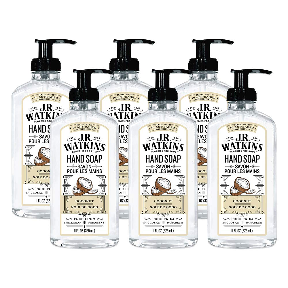 JR Watkins Gel Hand Soap, Coconut, 6 Pack, Scented Liquid Hand Wash for Bathroom or Kitchen, USA Made and Cruelty Free, 11 fl oz