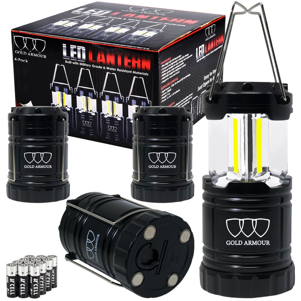 Brightest Camping Lantern (UPGRADED EMITS 500 LUMENS!) 4 Pack LED Lantern - Camping Equipment Gear Lights for Hiking, Emergencies, Hurricanes, Outages, Great Gift Set (Black Magnetic Base and Hook)