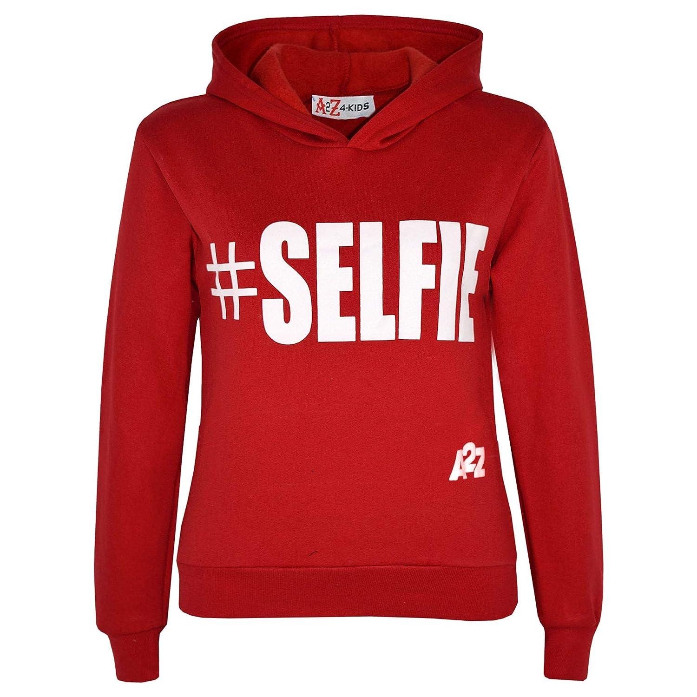 A2Z 4 Kids® Kids Girls Boys Sweatshirts Tops Designer's Casual #Selfie Print Pullover Sweatshirt Fleece Hooded Jumper Coats Warm Shirts Age 5 6 7 8 9 10 11 12 13 Years