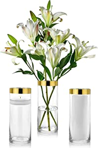 Set of 3 Glass Cylinder Vases 10 Inch Tall with 1 Inch Gold Rim - Multi-use: Pillar Candle, Floating Candles Holders or Flower Vase – Perfect as a Wedding Centerpieces