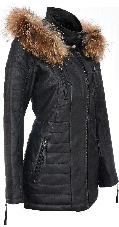 Veste Parka Femme en Cuir Noir Trench Manteaut /À Capuche Amovible Et Matelass/é