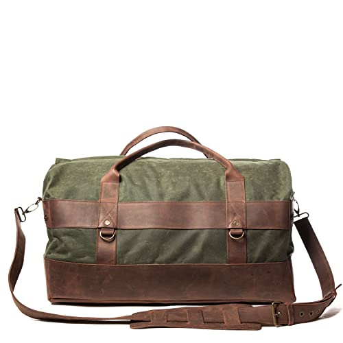 6e20e9ecf Vintage Handmade Carry On Luggage - Made From Waxed Canvas & Leather  Shoulder Strap - High Quality Retro Holdall Travel Weekender Bag With  Waterproof Lining ...